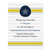 Yellow and Navy Sand Dollar Beach Wedding Design Postcard