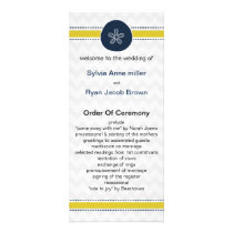 Yellow and Navy Sand Dollar Beach Wedding Design Rack Card