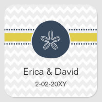 Yellow and Navy Sand Dollar Beach Wedding Design Square Sticker