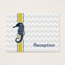 Yellow and Navy SeaHorse Beach Wedding Stationery Business Card