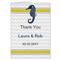 Yellow and Navy SeaHorse Beach Wedding Stationery Card