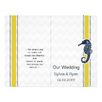 Yellow and Navy SeaHorse Beach Wedding Stationery Flyer