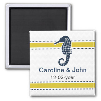 Yellow and Navy SeaHorse Beach Wedding Stationery Magnet