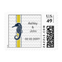 Yellow and Navy SeaHorse Beach Wedding Stationery Postage