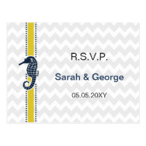 Yellow and Navy SeaHorse Beach Wedding Stationery Postcard