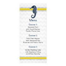 Yellow and Navy SeaHorse Beach Wedding Stationery Rack Card