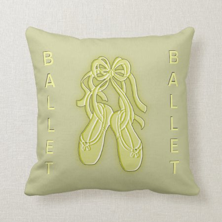 Yellow and Olive Green Ballet Slippers Pillow