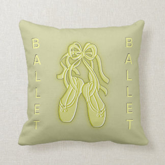 Yellow and Olive Green Ballet Slippers Throw Pillow