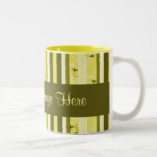Yellow and Olive Green Striped Two-Tone Coffee Mug