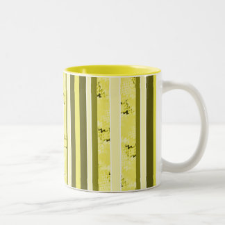 yellow and olive green stripes Two-Tone coffee mug
