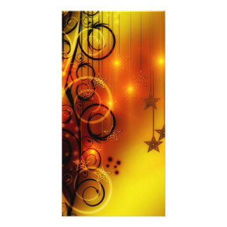 Yellow and Orange Abstract Design Stars Spirals Photo Greeting Card