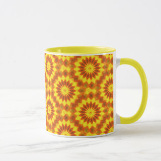 Yellow and orange abstract flower mug