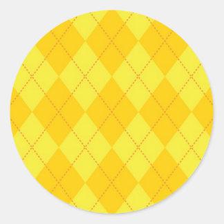 Yellow and Orange Argyle Pattern Classic Round Sticker