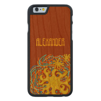 Yellow And Orange Astrum Vita Abstract Art Carved® Walnut iPhone 6 Bumper