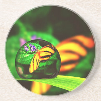 Yellow and Orange Butterfly Through a Drop of Wate Sandstone Coaster