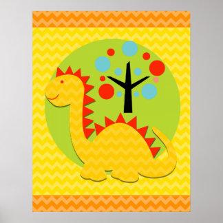 Yellow and Orange Chevron Dragon Nursery Poster