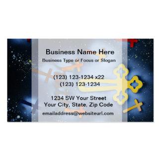 Yellow and orange crosses spacepainting business card