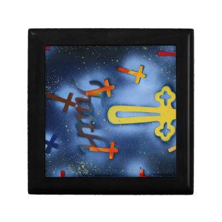 Yellow and orange crosses spacepainting trinket box