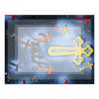 Yellow and orange crosses spacepainting letterhead