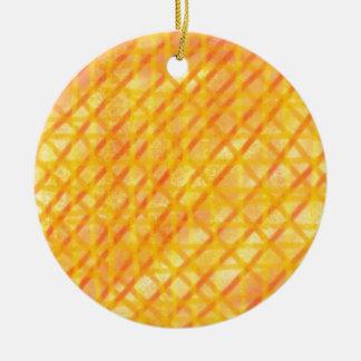 Yellow and Orange Crosshatch Design Products Ceramic Ornament