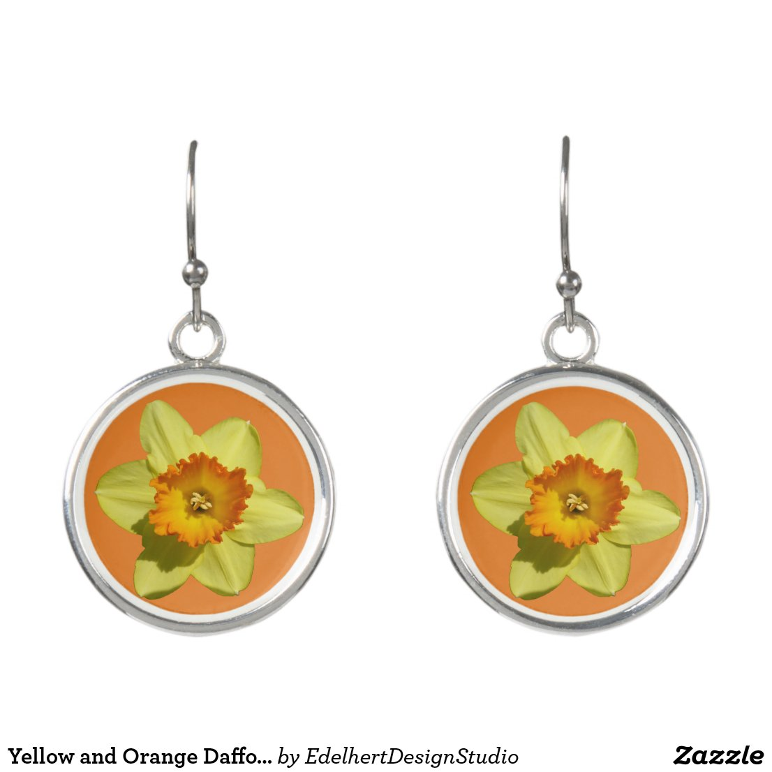 Yellow and Orange Daffodils Earrings