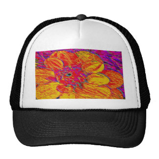yellow and orange dahlia trucker hat