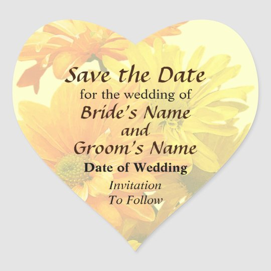 Yellow and Orange Daisies Save the Date Heart Sticker