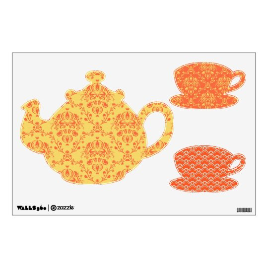 yellow and orange damask tea time wall sticker