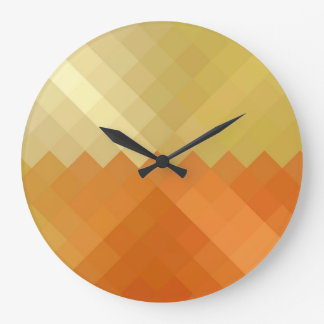 Yellow and Orange Diamond Seamless Pattern Large Clock