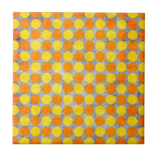 Yellow and Orange Distressed Polka Dotted Tile