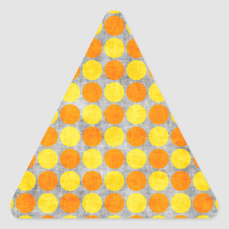 Yellow and Orange Distressed Polka Dotted Triangle Sticker