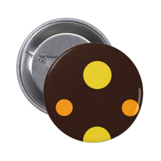 Yellow and Orange Dots on Brown Background Pinback Button