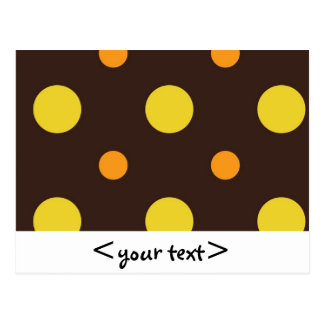 Yellow and Orange Dots on Brown Background Postcard