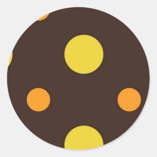 Yellow and Orange Dots on Brown Background Round Sticker