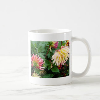 Yellow and orange floral on greenery coffee mugs
