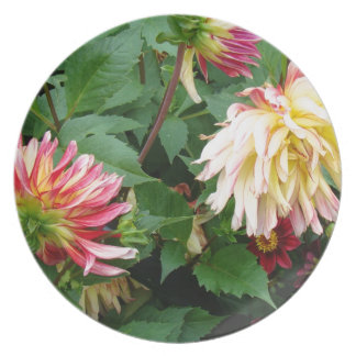 Yellow and orange floral on greenery plates