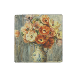 YELLOW AND ORANGE FLOWERS BY RENOIR STONE MAGNET