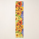 """Yellow and orange flowers with purple sky scarf<br><div class=""""desc"""">Cheerful flowers to share on a gloomy day. Should there ever be one. Throw this around your neck and you&#39;ll feel sunnier right away.</div>"""