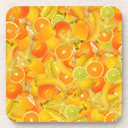 Yellow and orange fruits and vegetables coaster