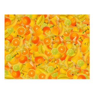 Yellow and orange fruits and vegetables postcard