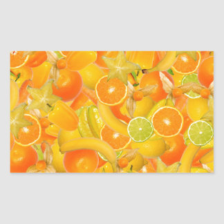 Yellow and orange fruits and vegetables rectangular sticker