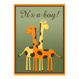 Yellow and Orange Giraffe Baby Shower Invitations