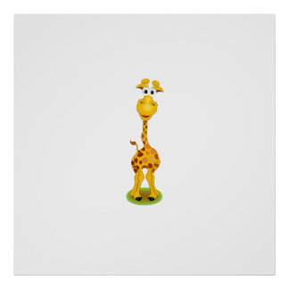 Yellow and orange happy cartoon giraffe poster