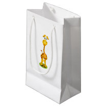 Yellow and orange happy cartoon giraffe small gift bag