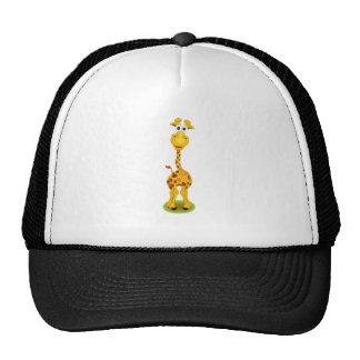 Yellow and orange happy cartoon giraffe trucker hat