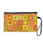 Yellow and Orange Hippie Flower Pattern Wristlet Clutch