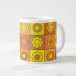 Yellow and Orange Hippie Flower Pattern Jumbo Mugs