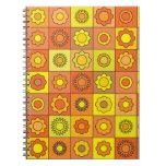 Yellow and Orange Hippie Flower Pattern Spiral Notebooks