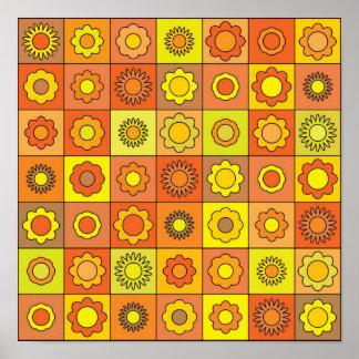 Yellow and Orange Hippie Flower Pattern Print