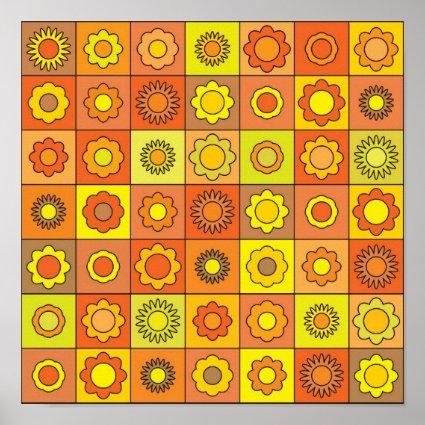 Yellow and Orange Hippie Flower Pattern Poster
